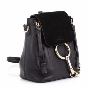 Faye Suede Calfskin Small Black Backpack